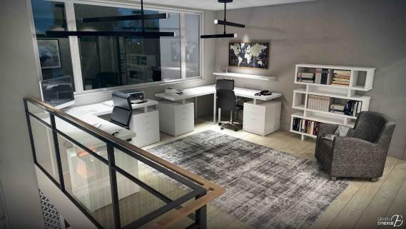 Organisé de façon géométrique, le bureau est situé à l'étage. (Fournie par Graph Synergie)