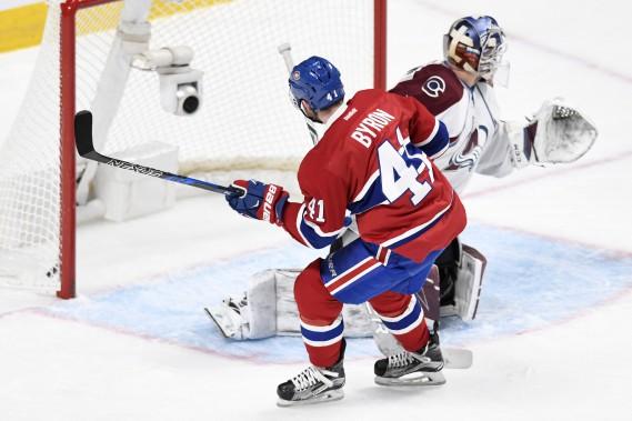 Paul Byron, en échappée, a profité de la chute d'un défenseur pour foncer au filet et déjouer Varlamov. (PHOTO BERNARD BRAULT, LA PRESSE)