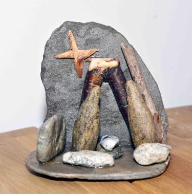 Cette crèche composée de roches est signée Normand Simard. (Le Soleil, Jean-Marie Villeneuve)
