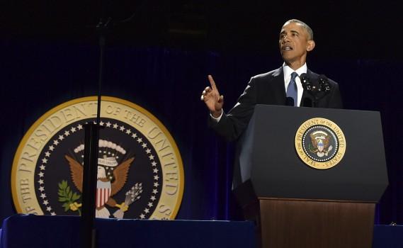 Barack Obama prononçant son discours d'adieu à Chicago. (AFP)