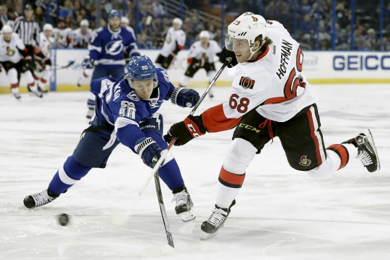 Vladislav Namestnikov tente d'empêcher Mike Hoffman de tirer. (Chris O'Meara, Associated Press)