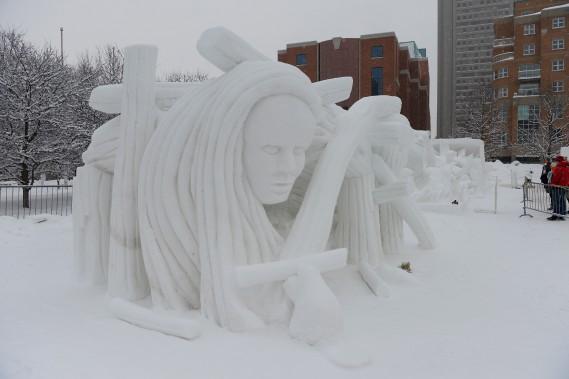 Le Canada s'est mérité la troisième place avec sa sculpture intitulée Dame de castor. (Le Soleil, Jean-Marie Villeneuve)
