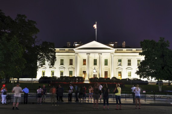 The White House building with tourists in Washington, DC