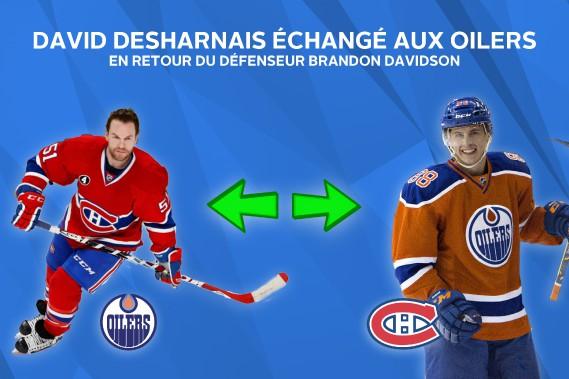 David Desharnais échangé aux Oilers en retour du défenseur Brandon Davidson. ()