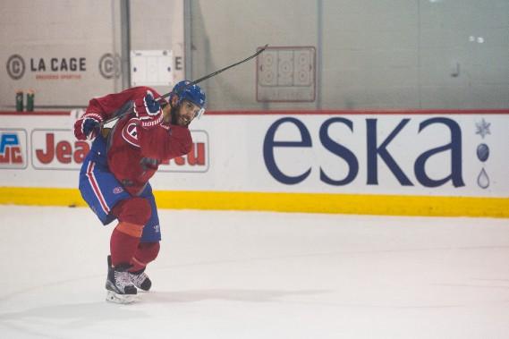 Les quatre joueurs acquis par le Canadien depuis mardi, dont Dwight King (notre photo), ont participé à l'entraînement de l'équipe, jeudi matin. (Photo Simon Giroux, La Presse)