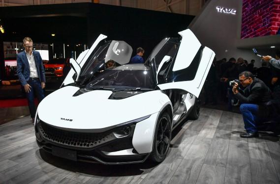 Le coupé sport Tamo Racemo du constructeur indien Tata Motors. (AFP)