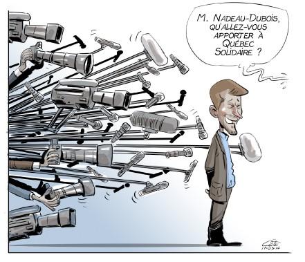 Caricature du 10 mars (Le Soleil, André-Philippe Côté)