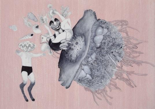 «Les eaux du fleuve troublent de drôles d'histoires (pour Allison du Nord au Nord)», de Fanny Mesnard, 2017, encre et acrylique sur papier vélin, 75x100 cm ()