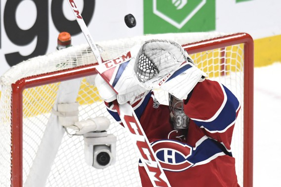 Carey Price bloque un tir haut. (PHOTO BERNARD BRAULT, LA PRESSE)