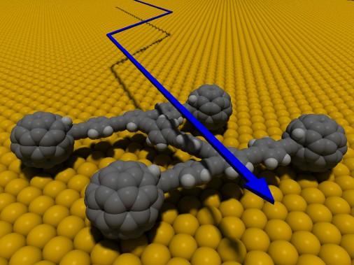 La nanocourse du 27 avril sera une première mondiale, mais les scientifiques en rêvent depuis longtemps. Ci-haut, une nanovoiture imaginée par l'Université Rice dès 2006. (Photo : Université Rice)