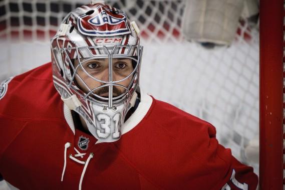 Carey Price est bien concentré lors de la deuxième période. (PHOTO OLIVIER JEAN, LA PRESSE)