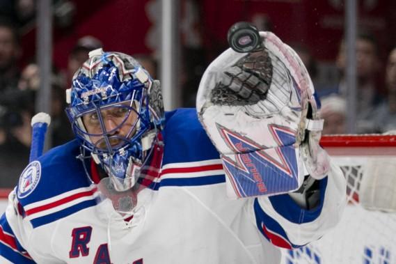 HenrikLundqvistdes Rangers de New York a connu un match exceptionnel, lui qui a reçu 58 tirs. (PHOTO DAVID BOILY, LA PRESSE)