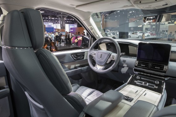 The interior of the 2018 Lincoln Navigator is photographed while on display at the New York International Auto Show, at the Jacob Javits Center in New York, Wednesday, April 12, 2017. (AP Photo/Mary Altaffer) (AP)