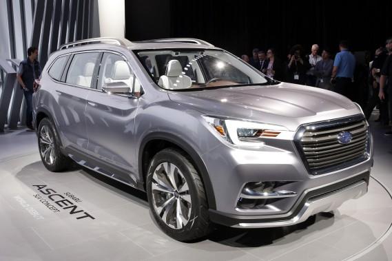 Le Subaru Ascent a été présenté en marge du Salon de l'auto de New York. Il marque le retour dans un segment lucratif et populaire. <br /><br /> (photo AP)