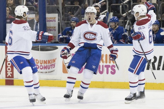 Un gars heureux vous croyez ?Alexei Emelin marque son premier but en séries éliminatoires et ouvre la marque pour le Canadien contre les Rangers. (PhotoMary Altaffer, AP) (Photo Mary Altaffer, AP)