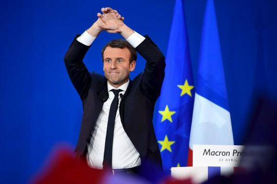 Emmanuel Macron lors de son discours après l'annonce des premiers résultats le portant en tête. (AFP, Eric Feferberg)
