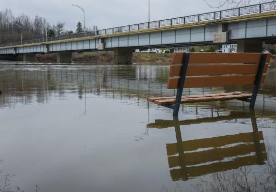 Le niveau de la rivière Batiscan est très élevé, comme l'illustre cette photo prise à proximité du pont de Sainte-Geneviève-de-Batiscan. (François Gervais, Le Nouvelliste)