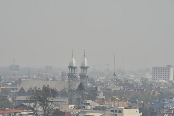 Mexico vit de fréquents épisodes de smog intense, comme celui de mai 2016, ci-haut. ()
