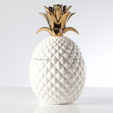 Gagnon Frères - Jarre en céramique en forme d'ananas de couleur blanc et or. <br />Dimension: 6,25 po X 11 po ()