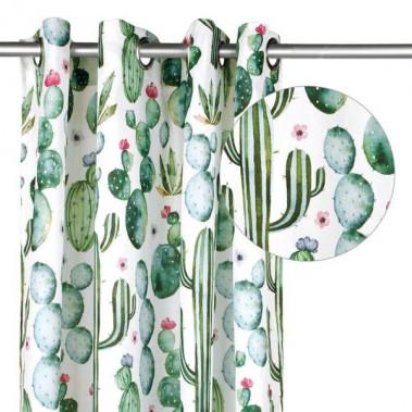 Rose.bon.bon - Panneau de rideau à motif de cactus. <br />Dimension: 56 po X 96 po ()