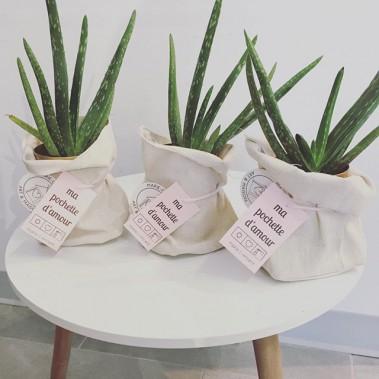 La Fabrik- Ma pochette d'amourUne jolie pochette contenant un aloès ou cactus pour une touche décorative simple et élégante. Signée Marie-C Vincent Art & maison ()
