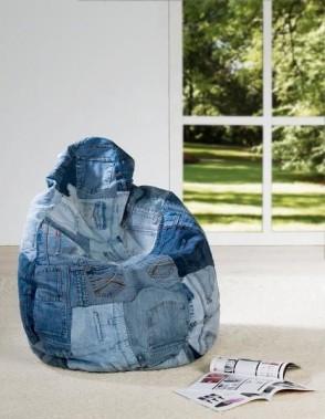 Pouf poire géant collection «Jean's» patchwork deco-maison-fr.com. (Pinterest)