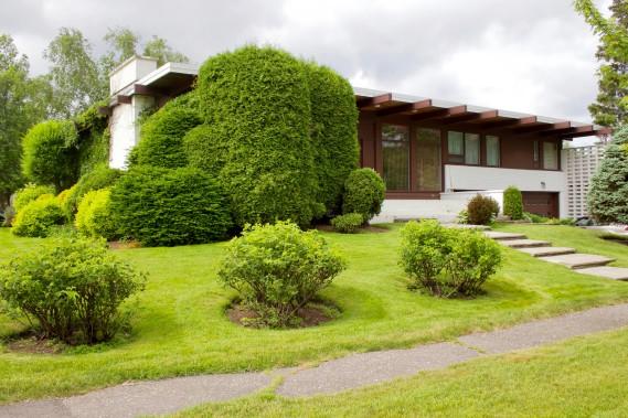 La Maison Thomas-L.-Tremblay, conçue en 1961 par Desgagné et Côté Architectes, se caractérise pare une stratification horizontale. En façade, le ruban de fenêtres met en valeur le traitement décoratifs que les architectes ont mis en valeur par un jeux de textures et de coloration des matériaux. (Mélissa Bradette)