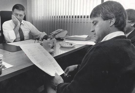 En 1985, Maurice Filion et Michel Bergeron étaient à la barre des Nordiques de Québec, le premier en tant que directeur général, le second comme entraîneur-chef. (Archives Le Soleil, Jean-Marie Villeneuve)
