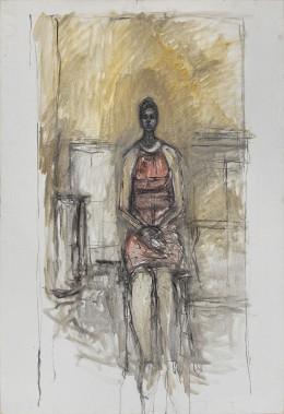 Alberto Giacometti, <i>Caroline assise </i><i>en pied</i>, vers 1964-1965. Huile sur toile, 136 x 95 cm (Succession Alberto Giacometti/ SODRAC)
