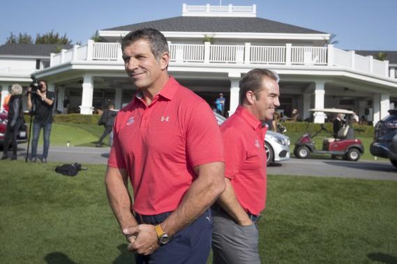 Marc Bergevin et Geoff Molson se sont adressés aux médiaslundi matin à l'occasion du tournoi de golf annuel du Canadien. (Photo Ivanoh Demers, La Presse)