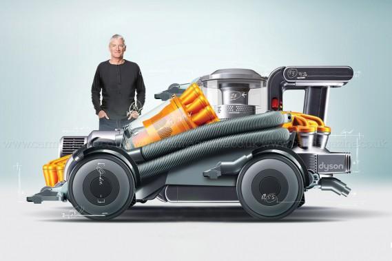 Le magazine automobile britannique <em>Car Magazine</em> s'est amusé avec le logiciel Photoshop pour créer une Dyson-mobile qui ressemble aux aspirateurs sans sac popularisés par James Dyson. ()
