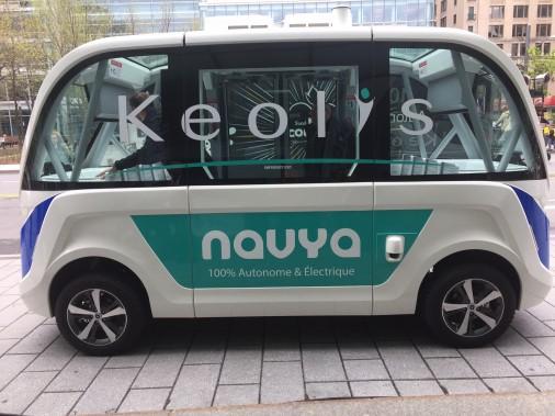 Le véhicule autonome Navya circulera au printemps 2018 dans le Vieux-Terrebonne. (Groupe Keolis.)