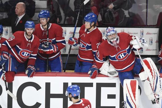 Les visages des joueurs du Canadien exposent leur déception à la fin de la rencontre. (PHOTO BERNARD BRAULT, LA PRESSE)