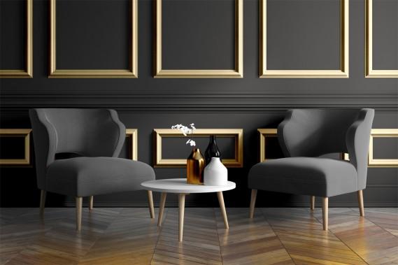 Noir:Le noir élégance (DLX1004-7) est l'une des deux couleurs choisies par les experts des peintures Dulux. Ce noir profond reflète la volonté des consommateurs de faire preuve d'audace. L'oie d'or (015LM), un revêtement chatoyant tiré de la gamme Métal liquide, évoque aussi l'opulence. Ensemble ou séparément, les deux couleurs attireront l'attention. (ILLUSTRATION FOURNIE PAR PPG)
