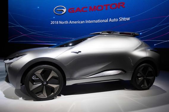Le prototype Enverge, révélé par le constructeur chinois GAC au Salon de l'auto de Détroit.<br /><br /> (AFP)