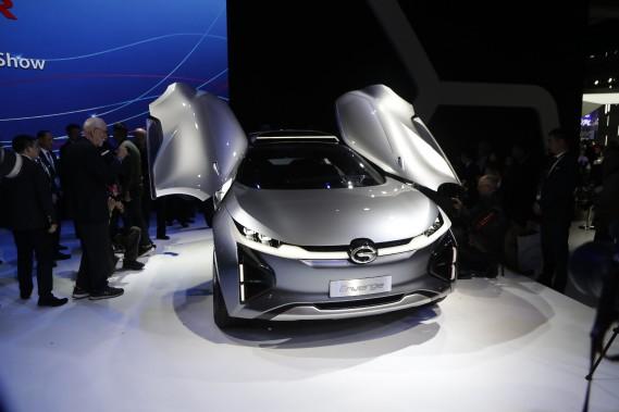 Le prototype électrique Enverge a des portes en élytres. (AP)