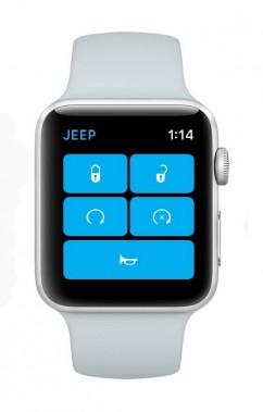 <strong>Une iWatch pour le Wrangler -</strong>Le Wrangler a des airs précambriens, mais ce 4x4 de la belle époque a reçu une interface multimédia rafraîchie, dont un écran tactile de 8,4 po et une connexion cellulaire LTE. Jeep a dévoilé deux applications pour iPhone, la première permettant de configurer son propre Wrangler dans un environnement de réalité augmentée, et la seconde permettant de démarrer le moteur, de klaxonner ou de déverrouiller... (Jeep)