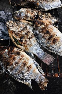 On garnit un tilapia rouge ou un bar de bâtons de citronnelle, avant de l'enrober d'une croûte de sel. Grillée à la perfection, la chair tendre du poisson se suffit à elle-même; même si on l'accompagne souvent de sauce pimentée et de quartiers de lime. (Photo Christelle Tanielian, collaboration spéciale)