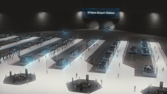 Cette image générée par ordinateur montre une partie du système de transport souterrain rapide que The Boring Company construira pour la ville de Chicago. Le bureau du maire de Chicago, Rahm Emanuel, a confirmé l'attribution du contrat. Ce système reliera le centre ville à l'aéroport de Chicago sur une distance de 32 km. (Photo The Boring Company via AP)