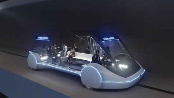 Les voitures électriques à sustentation magnétique circuleront dans des tunnels à une vitesse pouvant aller jusqu'à 240 km/h. Ellesseront conçues à partir du châssis modifié du VUS Modèle X de Tesla et transporteront chacune de 8 à 16 passagers. (Photo The Boring Company via AP)
