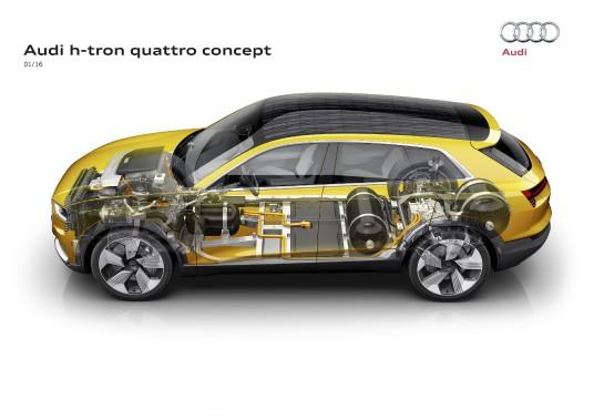 Vue en coupe du groupe motopropulseur du prototype Audi h-tron quattro à l'hydrogène. (Photo Audi)