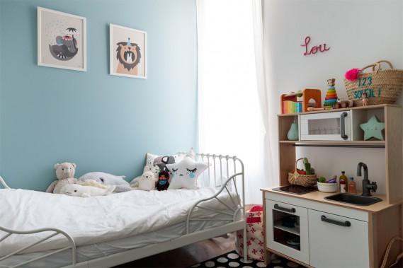 Rêves bleus:La chambre de Lou est d'un bleu ciel et du blanc. (Photo Hugo-Sébastien Aubert, La Presse)