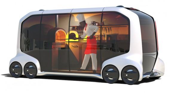 Le véhicule électrique autonome peut être utlisé pour le transport des personnes, la livraison des marchandises, le commerce de détail sur demande à domicile ou sur rendez-vous n'importe où en ville. ()