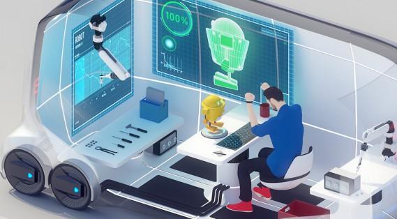 L'e-Palette pourra servir de bureau ou d'atelier itinérant.<br /><br /> ()