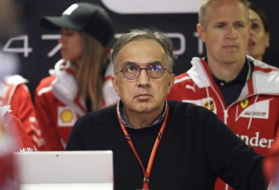 Sergio Marchionne ne cachait pas son insatisfaction durant la difficile saison 2017 de l'écurie Ferrari lors du Championnat de Formule 1. On le voit ici dans les puits à Monza avant le GP d'Italie le 2 septembre 2017. (AFP)