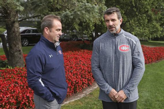 Geoff Molson et Marc Bergevin (Photo Robert Skinner, La Presse)