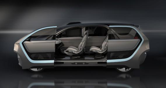 Le prototype Chrysler Portal avait des portes coulissantes et il n'y avait pas de pilier B. ()