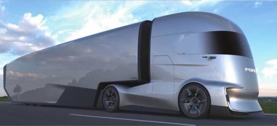 La remorque est nettement plus aérodynamique que les remorques existantes, avec la très longue jupe au niveau des roues. La partie inférieure de la remorque est marquée par un pli dont la ligne tend vers le bas et qui prend sa racine dans les roues du camion et même au delà, dans le pare-choc. (Photo Ford Otosan)