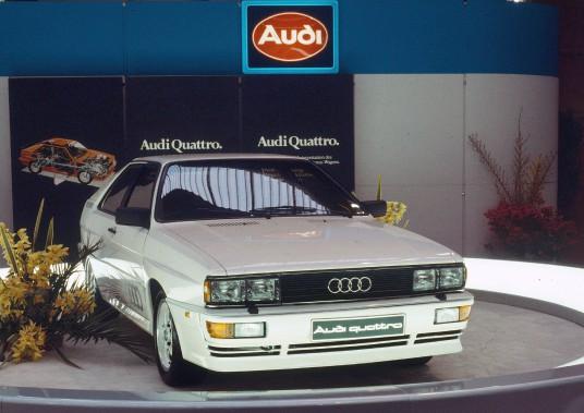 L'Audi Quattro B2 montrée au Salon de l'automobile de Genève en 1980. (Photo Audi)
