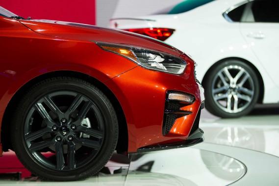 La Kia Forte lors de son dévoilement au dernier Salon de l'auto de Détroit en janvier 2018. (AFP)